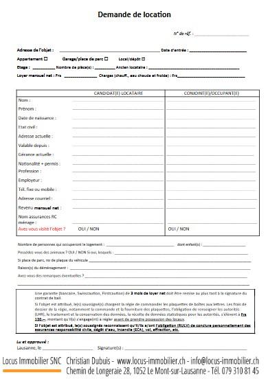 Formulaire demande de location pour appartements et dépôts