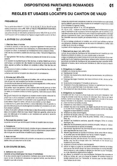 Règles et usages locatifs canton de Vaud